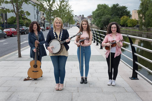 Cllr Naomi Bailie, Chairperson, Newry, Mourne and Down District Council with some of the local musicians who will be playing at the 2015 Iúr Cinn Fleadh - Newry City Music Festival. Included are Fil Campbell, Maria McGauley and Caoimhe McKivergan. Photograph: Columba O'Hare